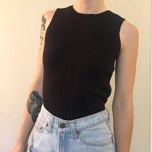 ☆ Basic Vintage Black Sweater Tank Top ☆